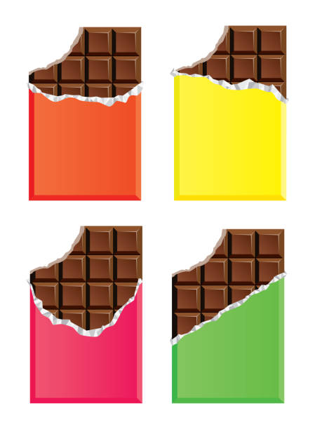 vector dark chocolate bars with a bite vector collection of opened dark chocolate bars with a bite candy clipart stock illustrations
