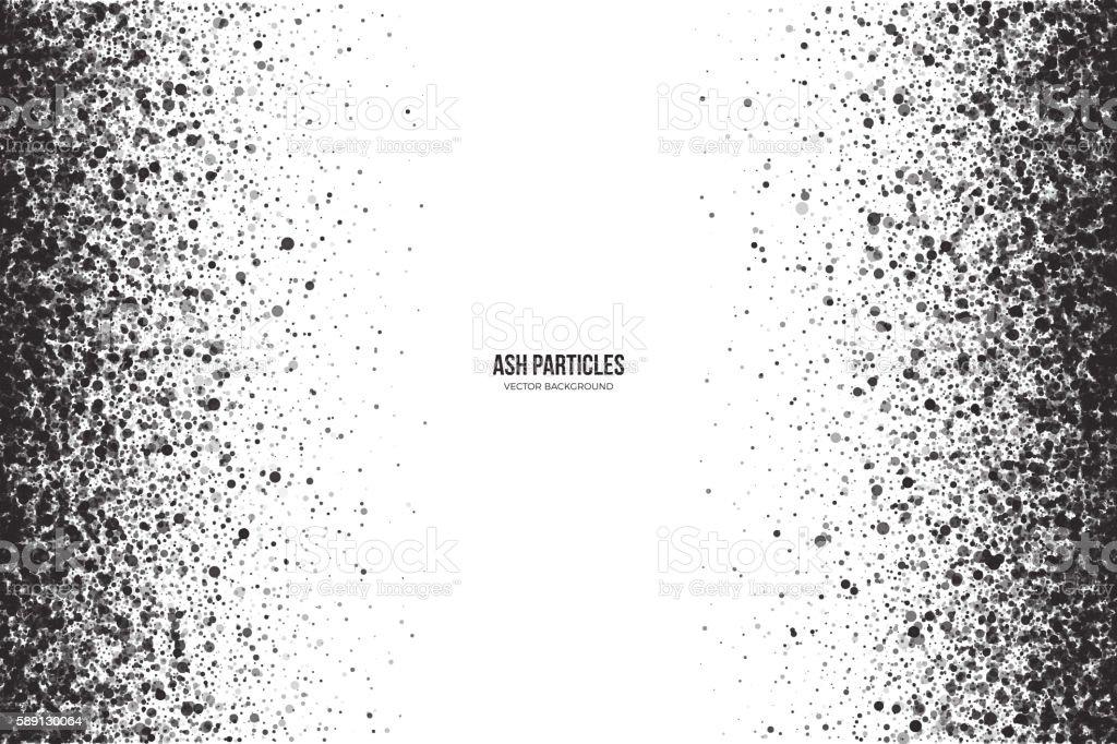 Vector Dark Gray Ash Particles on White Background vector art illustration