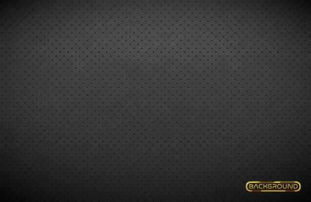 stockillustraties, clipart, cartoons en iconen met vector donkergrijs geperforeerd leder textuur behang. realistische houtskool geperforeerde achtergrond. zwarte gestippelde patroon. autostoel materiaalontwerp - motorvoertuig
