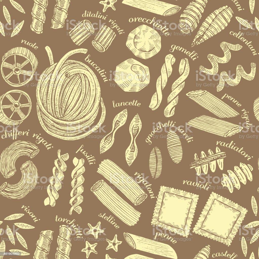 vector dark seamless pasta background vector art illustration