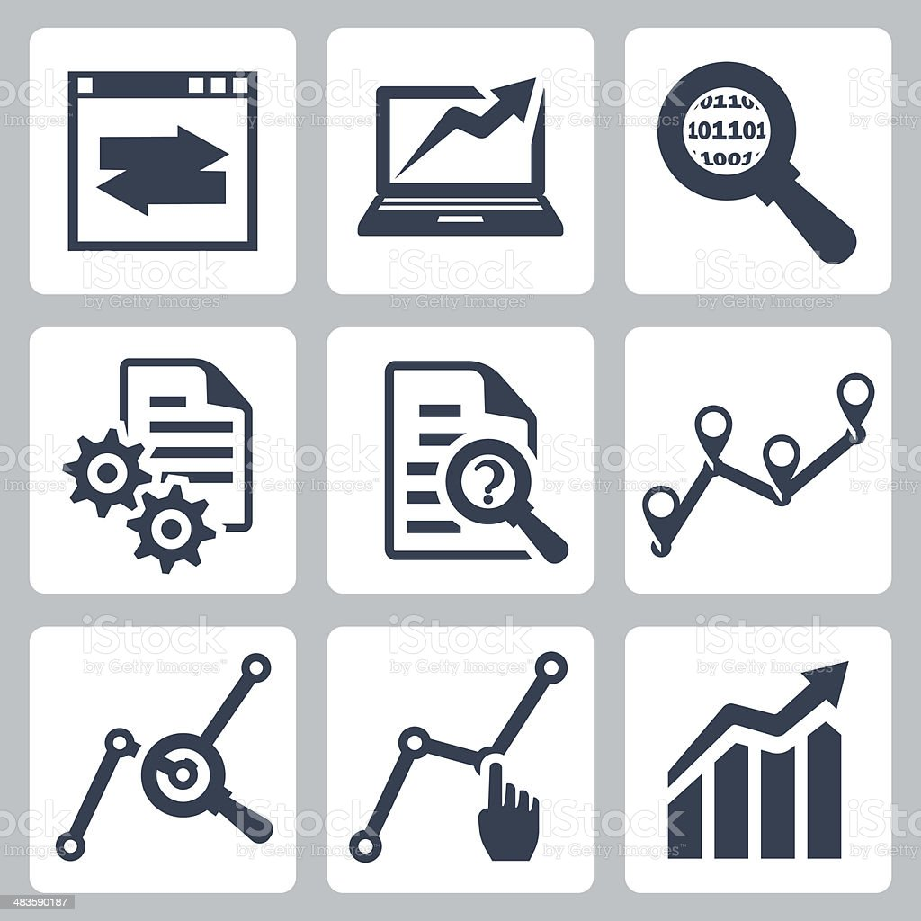 Vector data analysis icons set vector art illustration