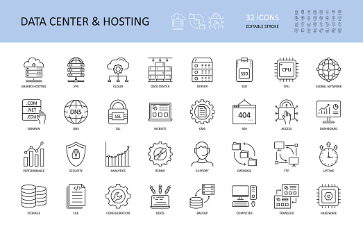Vector data center and hosting icons. Editable Stroke. Server shared hosting domain VPS SSD SSL DNS CPU. FTP database global network cloud dashboard. 404 uptime performance security analytics repair.