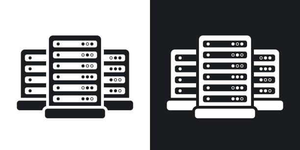 stockillustraties, clipart, cartoons en iconen met pictogram van het middelste vector. tweekleurige versie - netwerkserver