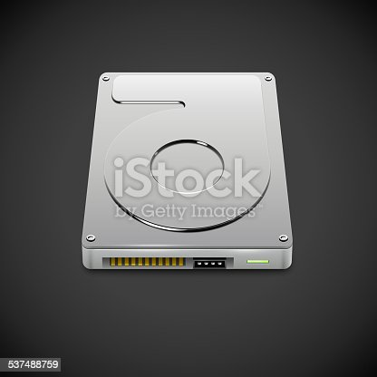 Vector Data Storage Hard Disc Drive Icon. HDD Illustration