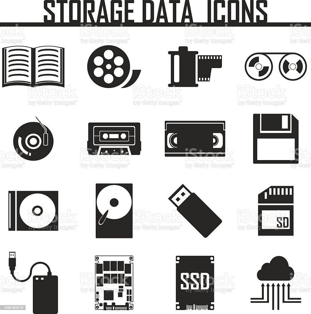 Vector data storage icons set vector art illustration