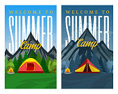 Vector day and night mountains summer camp vertical banners. Wild nature landscapes with tourist tents, green meadow, mountain, campfire and trees.