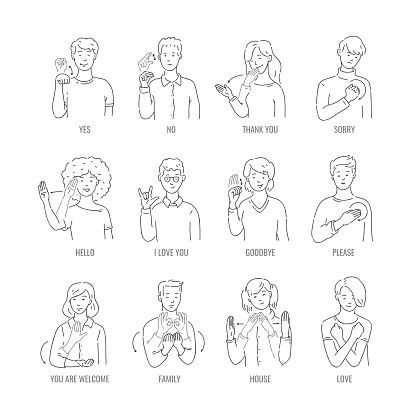 Vector deaf mute sign language character gesture
