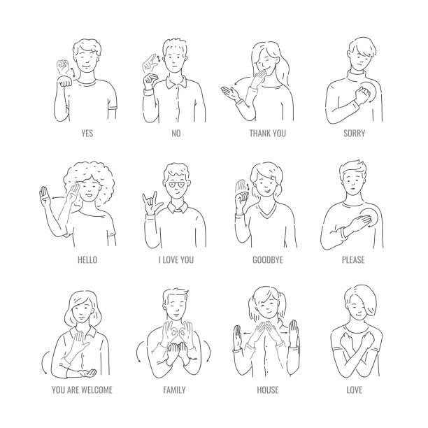 stockillustraties, clipart, cartoons en iconen met vector doof mute gebarentaal karakter gebaar - gebaren