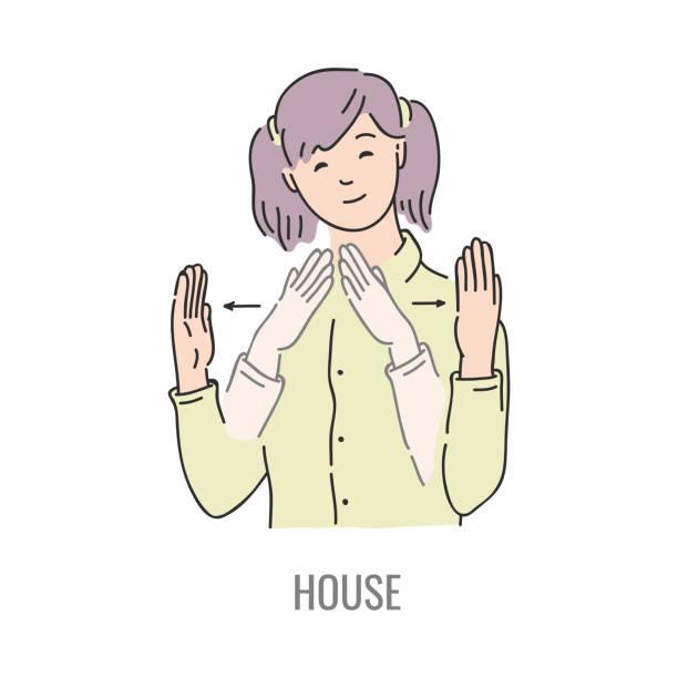 illustrazioni stock, clip art, cartoni animati e icone di tendenza di vector deaf mute sign language character gesture - mano donna dita unite