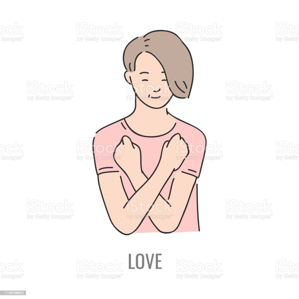 Vector young man showing love deaf-mute sign language symbol. Smiling...