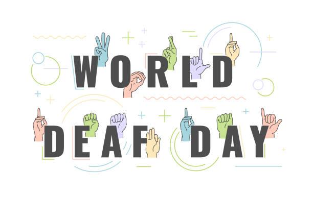 illustrazioni stock, clip art, cartoni animati e icone di tendenza di vector deaf-mute alphabet with hand gestures set - sordità