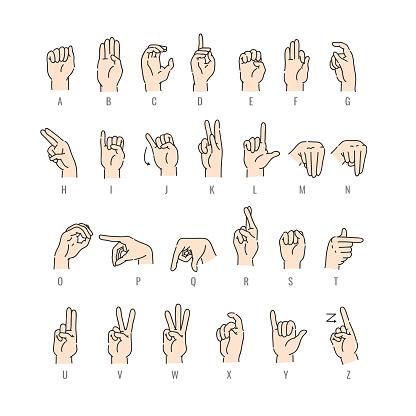 Vector deaf-mute alphabet with hand gestures set