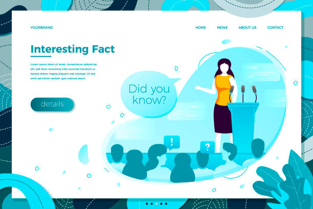 Vector debating girl saying interesting facts Vector illustration - debating girl saying interesting facts. Modern bright banner, site template with place for your text. stunt stock illustrations