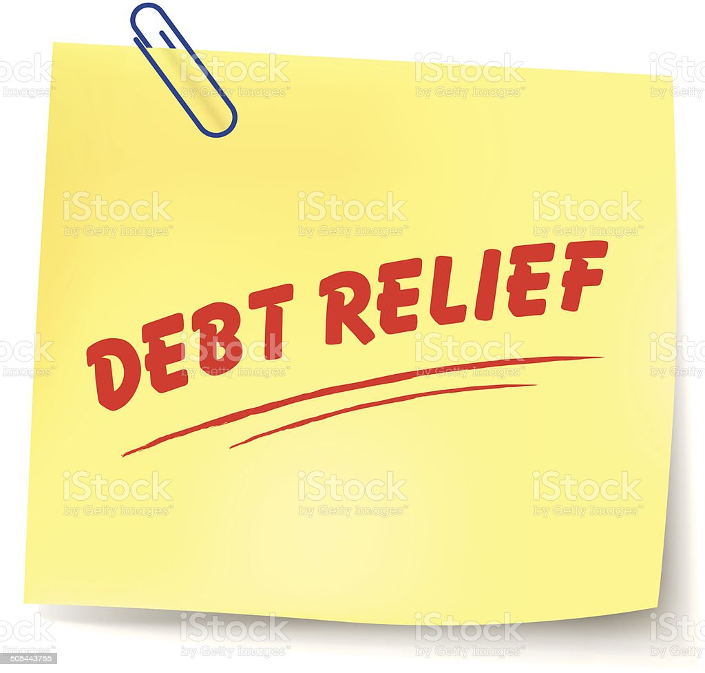 Vector debt relief message vector art illustration