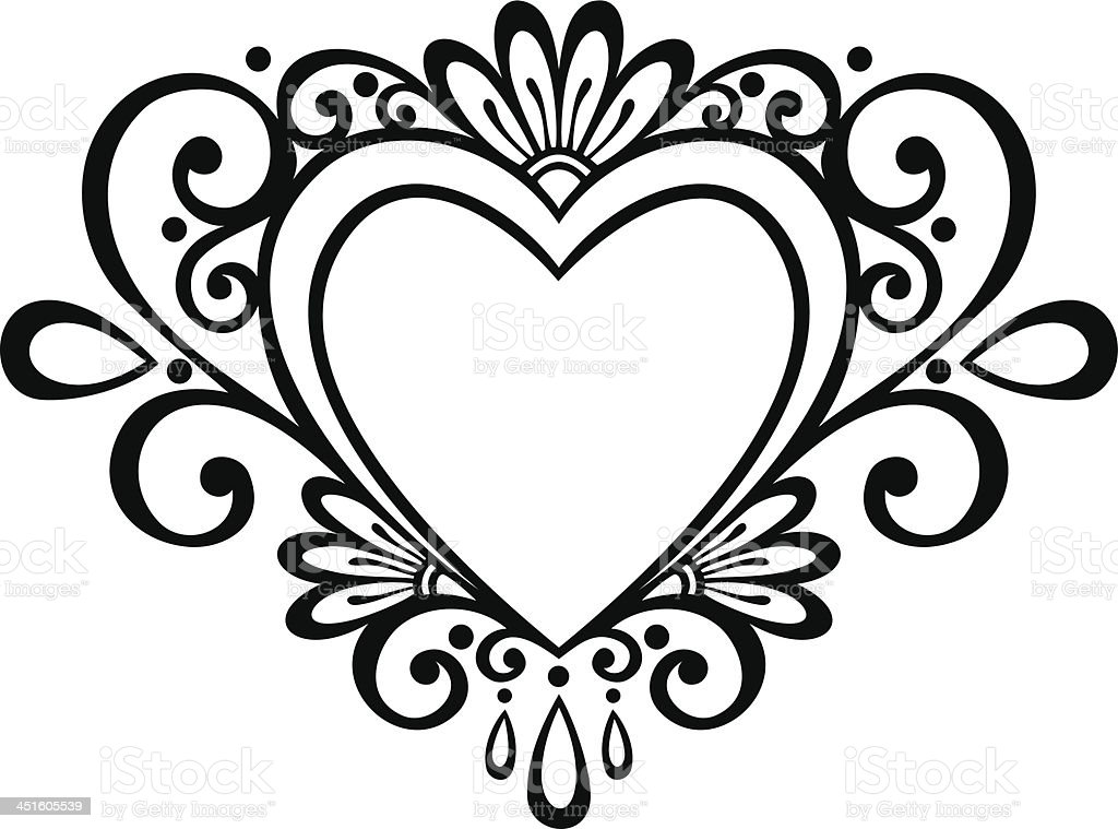 Line Art Heart Outline : Royalty free wishing flower tattoo clip art vector images