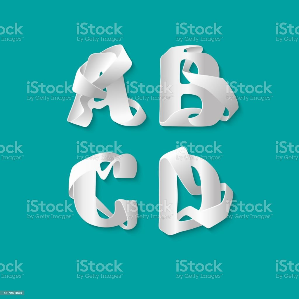 Vector decorative 3d alphabet isolated set of uppercase letters. White elegant letter A, B