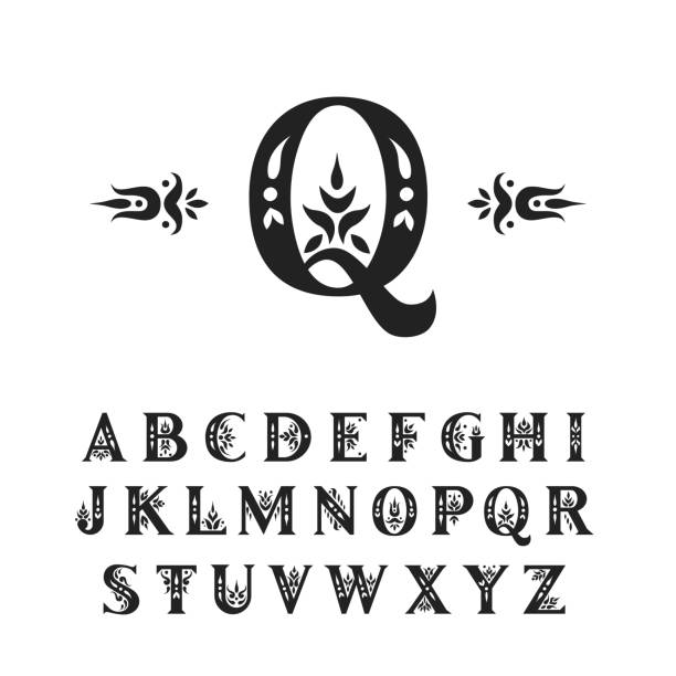 Vector decorative alphabet. Serif capital letters decorated with vintage flourishes. For initials, monograms, wedding design. Vector decorative alphabet. Serif capital letters decorated with vintage flourishes. For initials, monograms, wedding design. capital letter stock illustrations