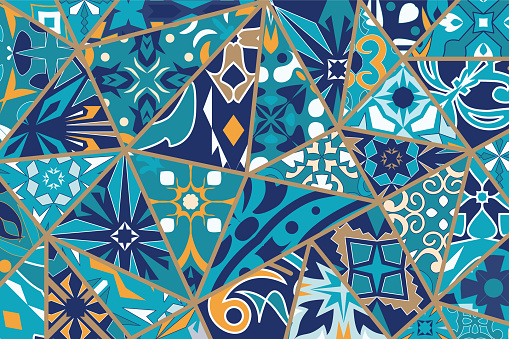Vector decorative background. Mosaic patchwork pattern for design and fashion