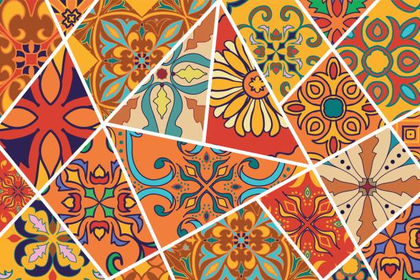 ilustraciones, imágenes clip art, dibujos animados e iconos de stock de fondo decorativo de vector. patrón de mosaico mosaico de diseño y moda - fondos mosaicos