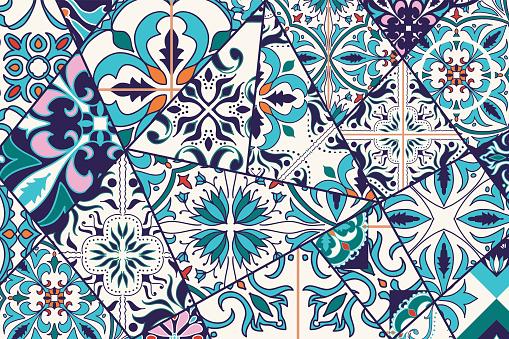 Vector decorative background. Mosaic patchwork pattern