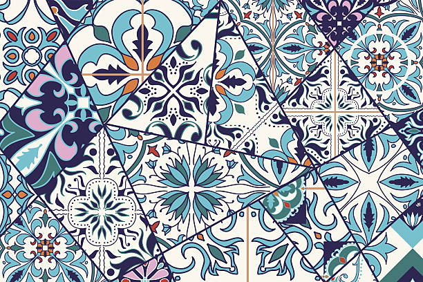 Vector decorative background. Mosaic patchwork pattern – Vektorgrafik
