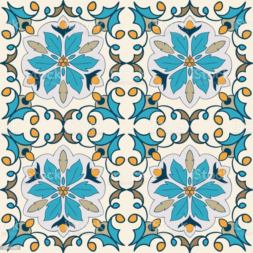 Vector decorative element. Beautiful colored pattern for design and fashion with decorative elements vector art illustration