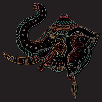Vector decorative fantasy ornate Indian elephant head silhouette. Hand drawn doodle sketch. Dark colour contour thin line, ethnic ornaments on a black background. T-shirt print. Batik paint. Book cover