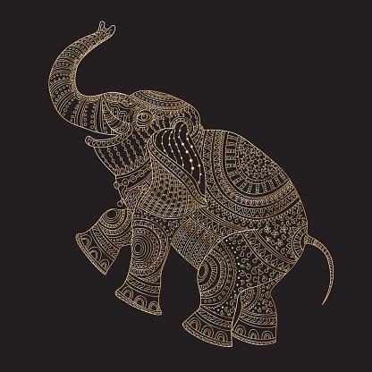 Vector decorative fantasy stylized ornate elephant silhouette. Zen tangle hand drawn doodle sketch. Golden contour thin line, ethnic ornaments, black background.T-shirt print. Batik paint. Album cover