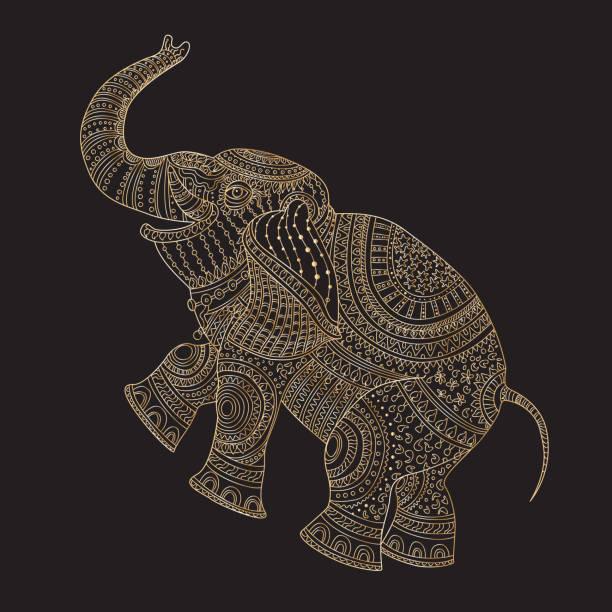 vektor dekorative fantasie stilisierte verzierten elefant silhouette. zen-gewirr von hand gezeichnet doodle skizze. goldene kontur dünne linie, ethnischer schmuck, schwarzer hintergrund. t-shirt druck. batik farbe. album-cover - elefantenkunst stock-grafiken, -clipart, -cartoons und -symbole