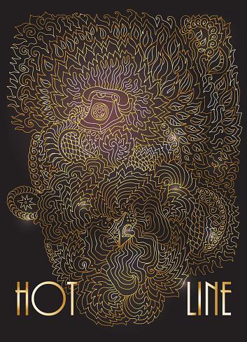 Vector decorative fantasy stylized retro telephone silhouette. Zen-like hand drawn doodle sketch. Golden contour thin line, ethnic, floral ornaments, black background.T-shirt print. Batik paint. Album cover