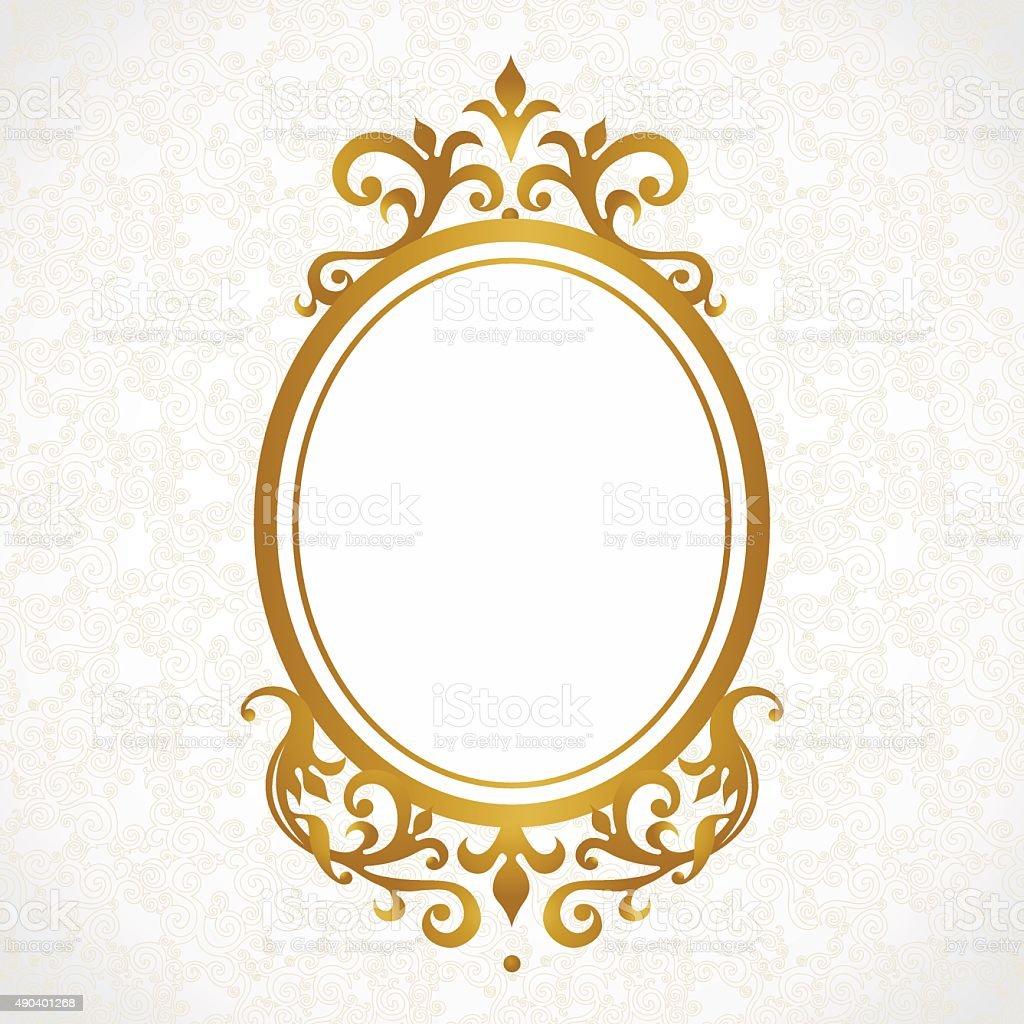 Vector decorative frame in Victorian style. vector art illustration