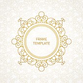 Vector decorative line art frame for design template. Elegant element for logo design in Eastern style, place for text. Golden outline floral border. Lace illustration for invitations and greeting cards.