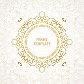 Vector decorative line art frame for design template.