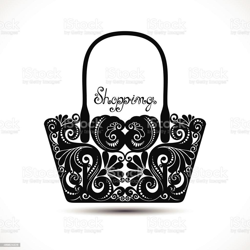 Vector Decorative Ornate Women's Bag vector art illustration