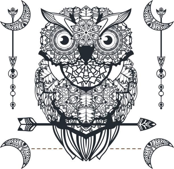 vector decorative owl with arrow - moon tattoos stock illustrations, clip art, cartoons, & icons