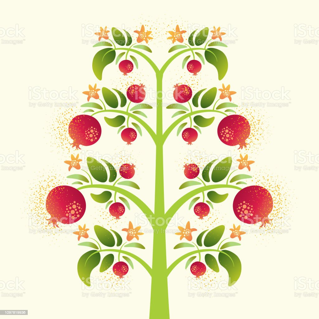 Vector Decorative Pomegranate Tree With Leaves On Light Background Stock Illustration Download Image Now Istock
