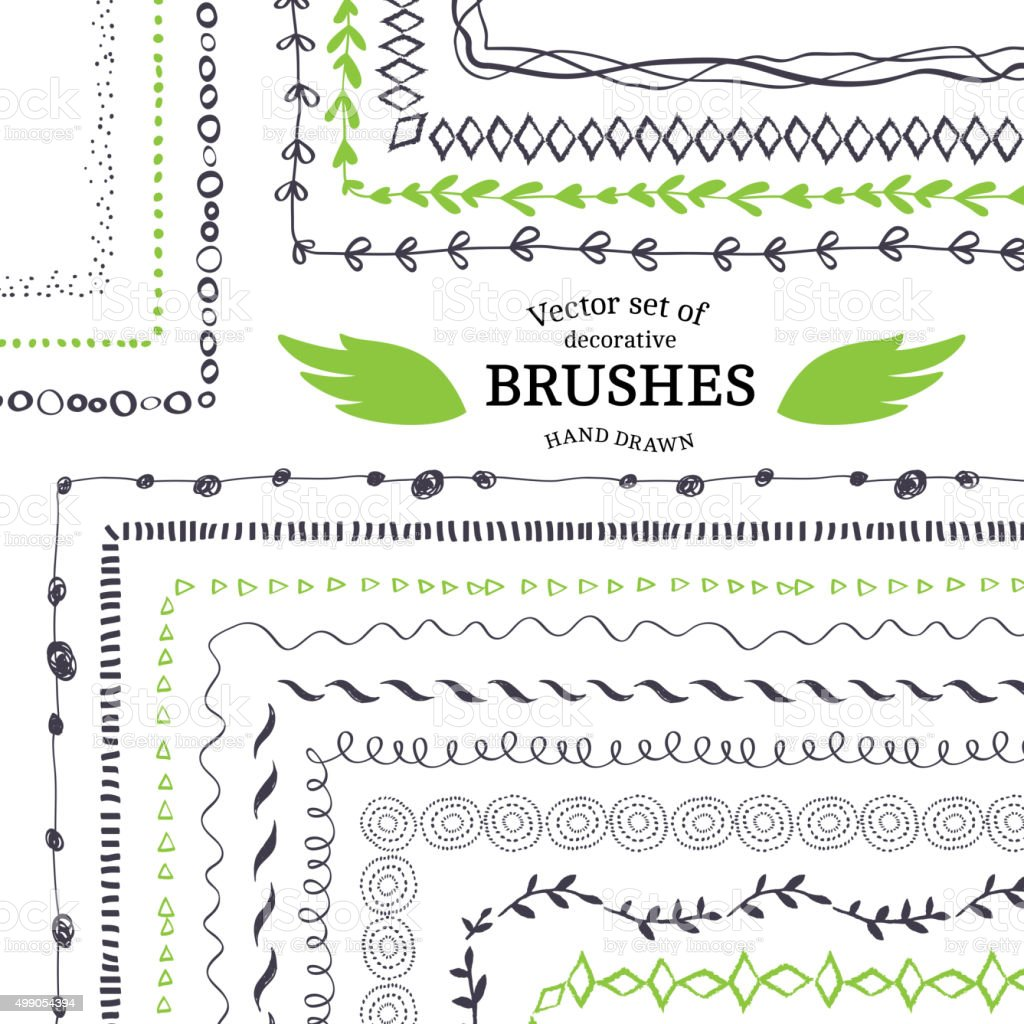 Vector Decorative Scribble Paintbrushes vector art illustration
