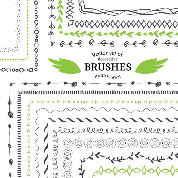 ilustraciones, imágenes clip art, dibujos animados e iconos de stock de vector esbozo paintbrushes decorativos - marcos de garabatos y dibujados a mano