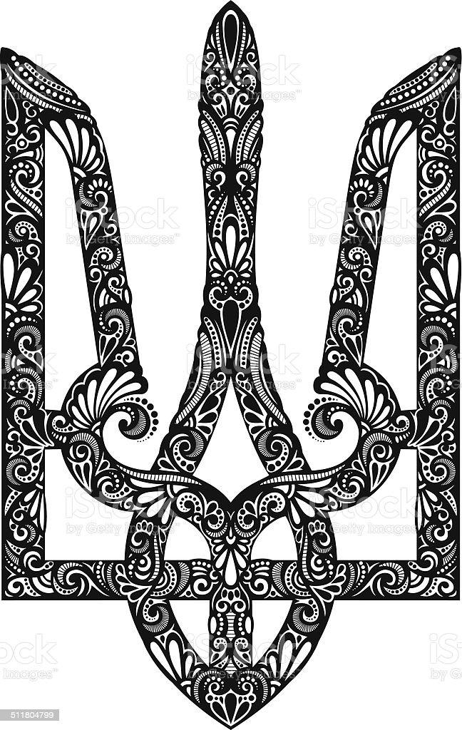 Vector Decorative Ukrainian Trident vector art illustration