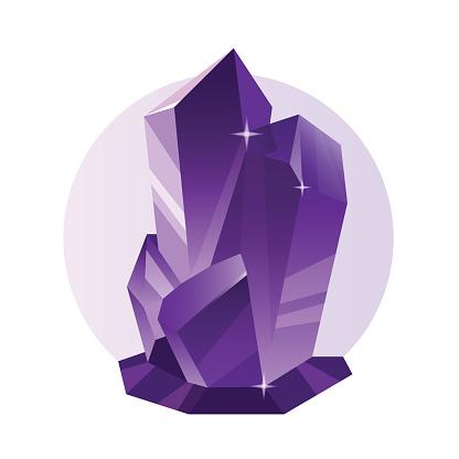 Vector decorative violet crystal, mineral