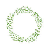 Vector decorative wreath with different plants and branches. Isolated.