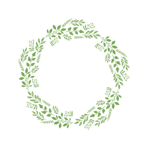Vector decorative wreath with different plants and branches. Isolated. Vector decorative wreath with different plants and branches. Isolated. invitational stock illustrations