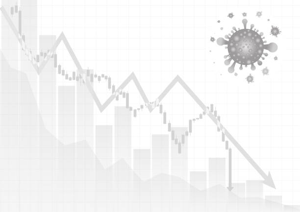 Vector : Decreasing business graph and arrow with virus vector art illustration