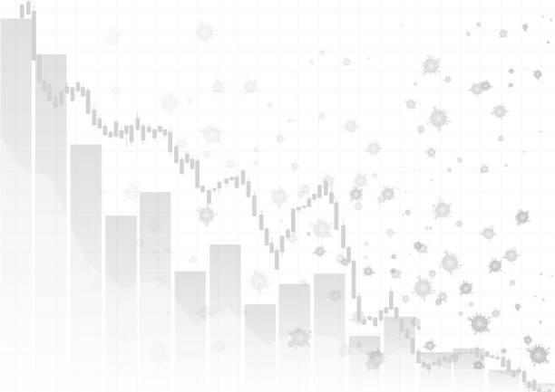 Vector : Decreasing business graph with virus on white background vector art illustration