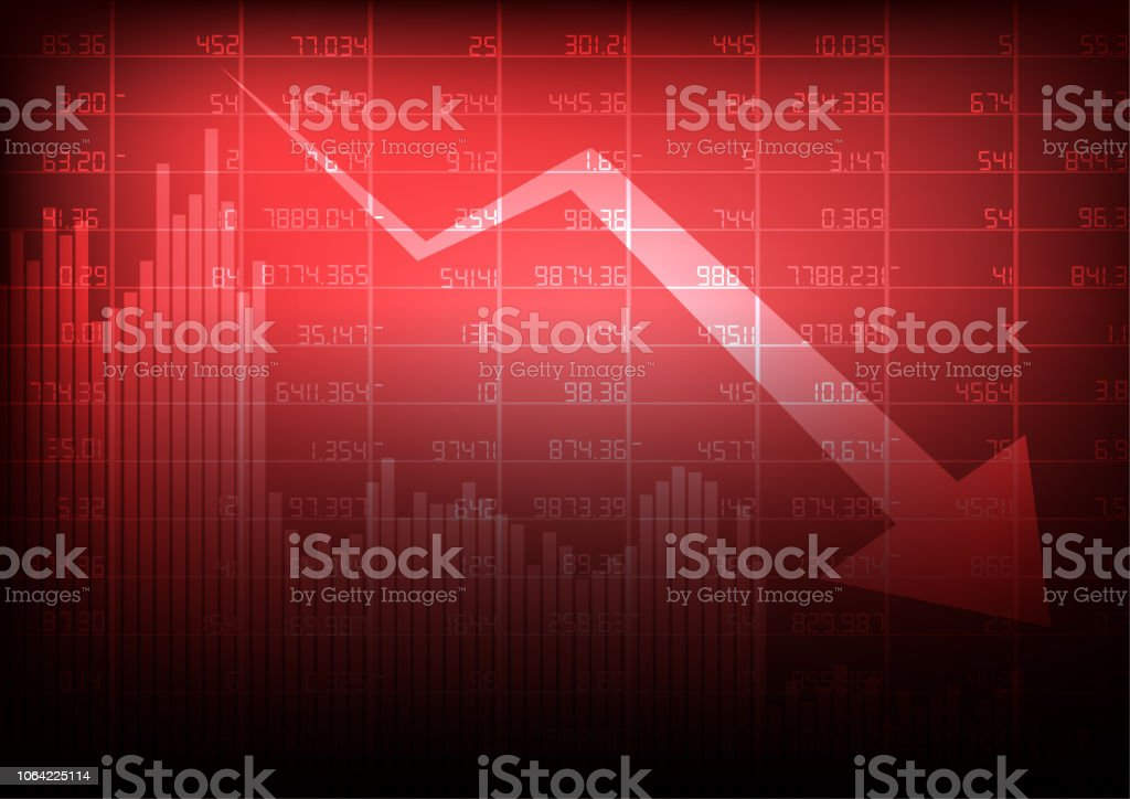 Vector : Decreasing stock board with arrow and business graph on red background Vector : Decreasing stock board with arrow and business graph on red background Abstract stock vector