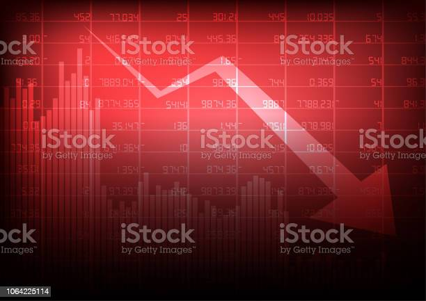 Vector Decreasing Stock Board With Arrow And Business Graph On Red Background Stock Illustration - Download Image Now