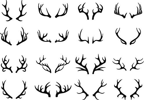 Vector deer antlers black icons set