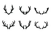 Vector deer antlers black icons set. Deer logo design elements. Set of deer horn. Set of the labels, emblems, logo, badge templates and design elements.