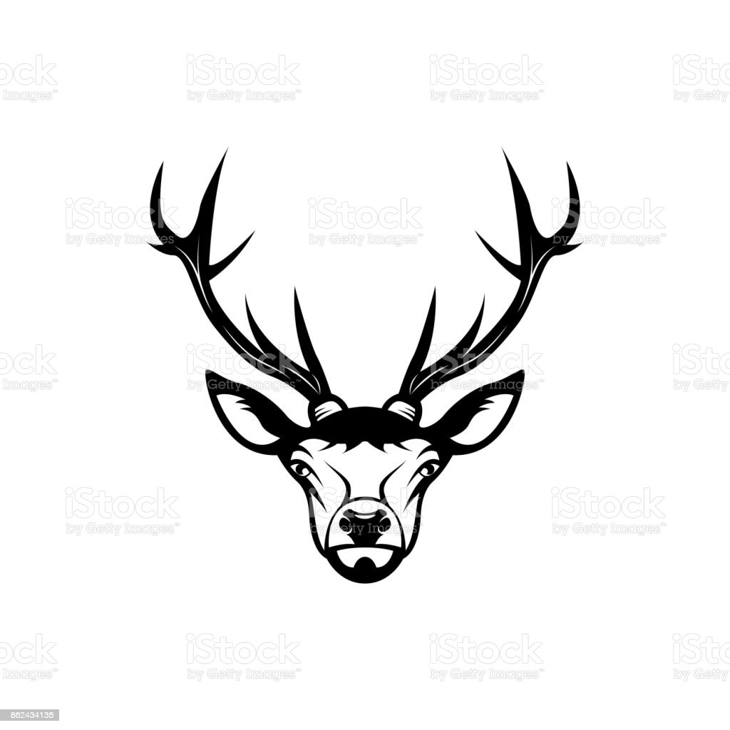 Vector Deer Head Face For Retro Hipster Icons Emblems Badges Labels ...
