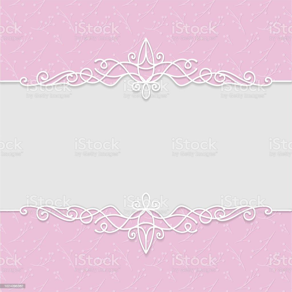 Vektor Zarten Gestalt In Rosa Farben Für Hochzeitseinladungen